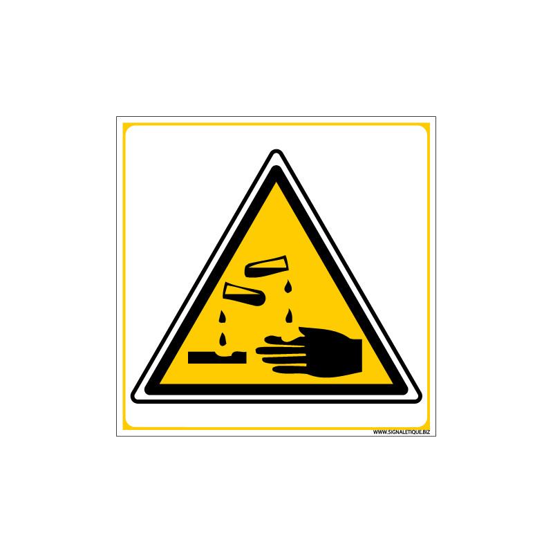 PANNEAU DANGER MATIERES CORROSIVES (C0040)
