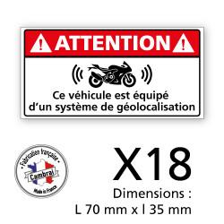 3 PLANCHE DE 6 ADHESIFS ATTENTION VEHICULE EQUIPE D'UN SYSTEME DE GEOLOCALISATION (G1446_PL6X3)