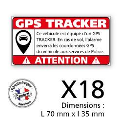 3 PLANCHE DE 6 ADHESIFS ATTENTION VEHICULE EQUIPE D'UN GPS TRACKER (G1448_PL6X3)
