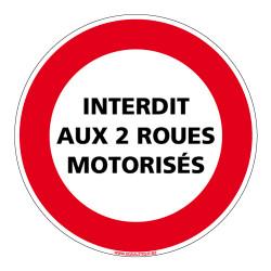 Panneau INTERDICTION DE CIRCULER INTERDIT AUX DEUX ROUES MOTORISEES (L0217)