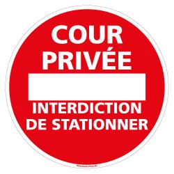 PANNEAU STATIONNEMENT INTERDIT COUR PRIVEE (D1342)