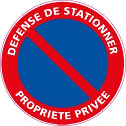 Panneau DEFENSE DE STATIONNER, PROPRIETE PRIVEE (L0004)