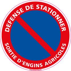 Panneau DEFENSE DE STATIONNER, SORTIE D'ENGINS AGRICOLES (L0005)