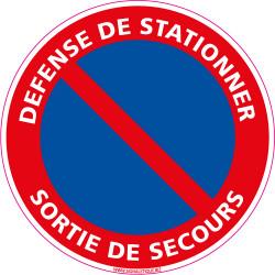Panneau DEFENSE DE STATIONNER, SORTIE DE SECOURS (L0006)