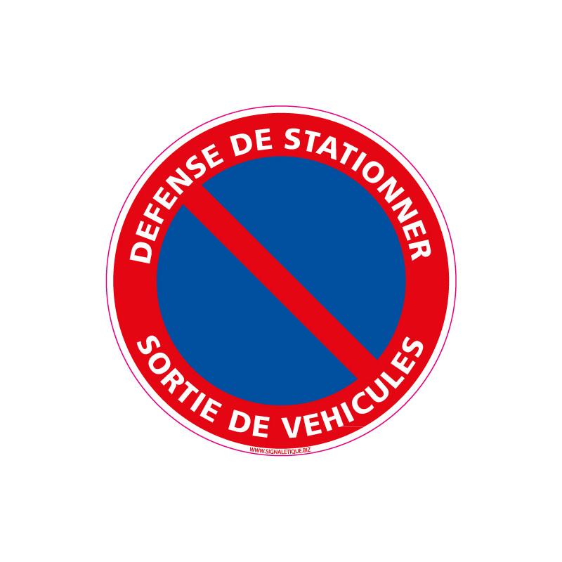 Panneau DEFENSE DE STATIONNER, SORTIE DE VEHICULES (L0007)
