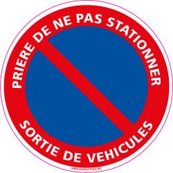 Panneau PRIERE DE NE PAS STATIONNER, SORTIE DE VEHICULES (L0009)