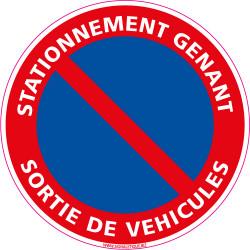 Panneau STATIONNEMENT GNANT, SORTIE DE VEHICULES (L0014)