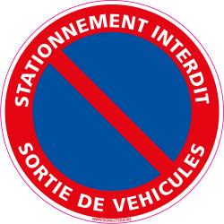 Panneau STATIONNEMENT INTERDIT, SORTIE DE VEHICULES (L0019)