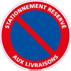 Panneau STATIONNEMENT RESERVE AUX LIVRAISONS (L0064)