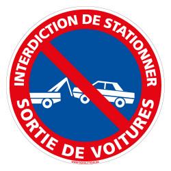 PANNEAU INTERDICTION DE STATIONNER SORTIE DE VOITURES (L0125)