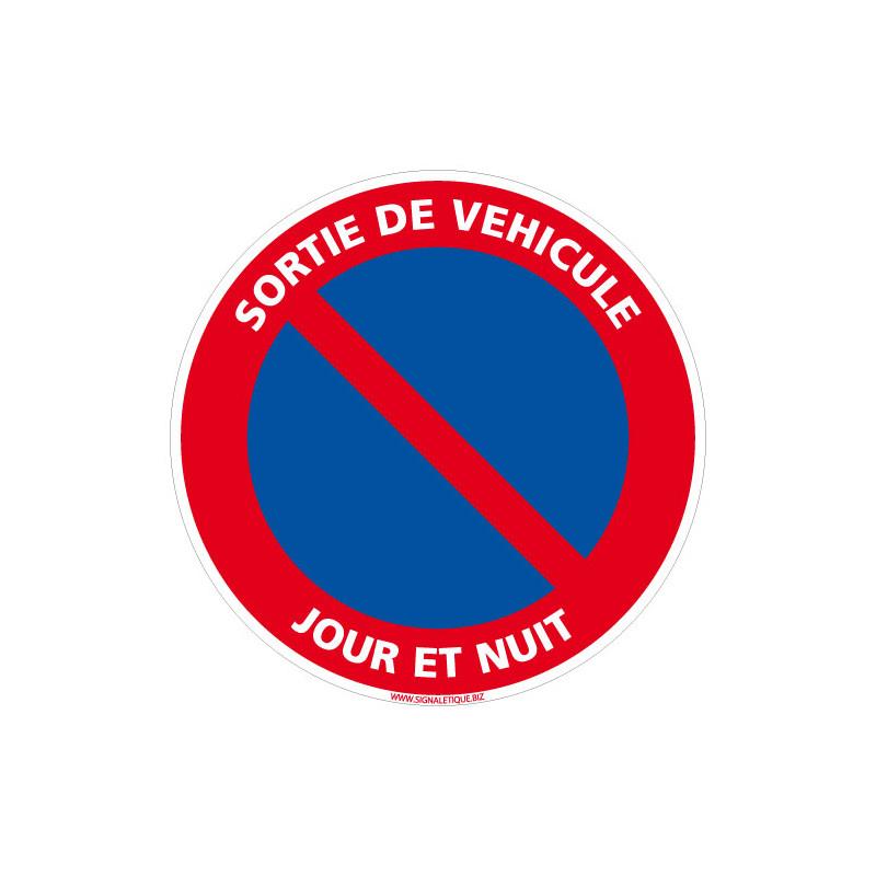 PANNEAU DE STATIONNEMENT INTERDIT SORTIE DE VEHICULE JOUR ET NUIT (L0127)