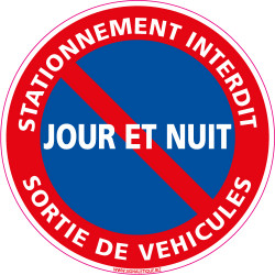 Panneau DEFENSE DE STATIONNER, SORTIE DE VEHICULES JOUR ET NUIT (L0142)