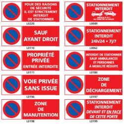 Panneaux stationnement interdit