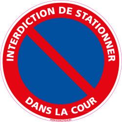 Panneau INTERDIT DE STATIONNER DANS LA COUR (L0256)
