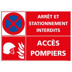 PANNEAU ARRT ET STATIONNEMENT INTERDITS - ACCES POMPIERS (L0262)