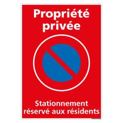 PANNEAU PROPRIETE PRIVEE STATIONNEMENT RESERVE AUX RESIDENTS (L0729)