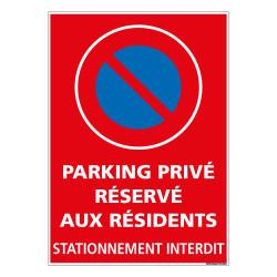 PANNEAU STATIONNEMENT INTERDIT PARKING RESERVE AUX RESIDENTS (L0730)