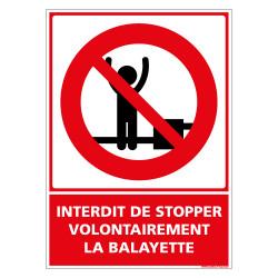 PANNEAU INTERDIT DE STOPPER VOLONTAIREMENT LA BALAYETTE (D1152)