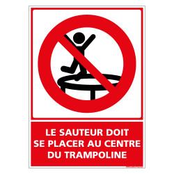 PANNEAU LE SAUTEUR DOIT SE PLACER AU CENTRE DU TRAMPOLINE (D1153)