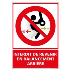 PANNEAU INTERDIT DE REVENIR EN BALANCEMENT ARRIERE (D1154)