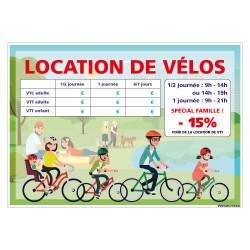 PANNEAU LOCATION DE VELOS PERSONNALISER (H0510-PERSO)