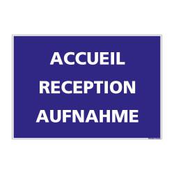 PANNEAU DE SIGNALISATION CAMPING ACCUEIL (H0218) Français-Anglais-Allemand