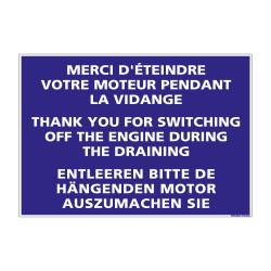 PANNEAU DE SIGNALISATION CAMPING ETEINDRE VOTRE MOTEUR (H0221) Français-Anglais-Allemand
