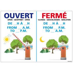 PANNEAU HORAIRES D'OUVERTURE (H0270)