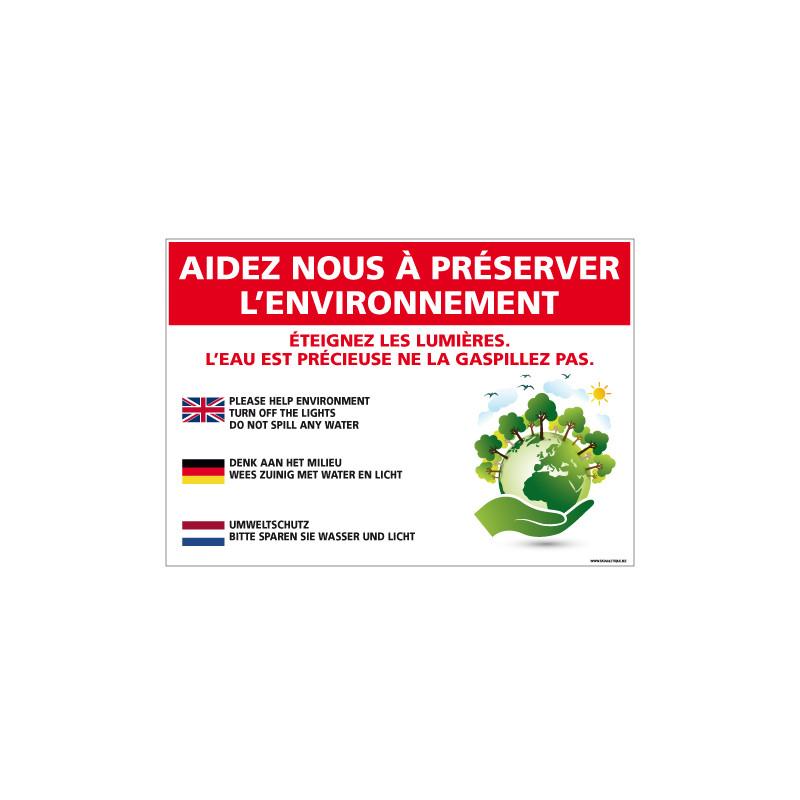 PANNEAU AIDEZ NOUS PRESERVER L'ENVIRONNEMENT (H0323)
