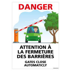 PANNEAU DANGER ATTENTION LA FERMETURE DES BARRIERES (H0444)