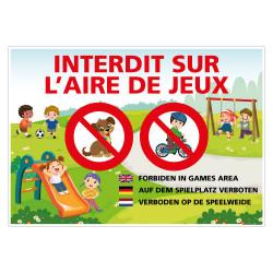PANNEAU INTERDIT SUR L'AIRE DE JEUX - FRANCAIS ET AUTRES LANGUES (H0446)