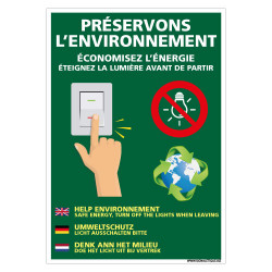 PANNEAU ECONOMISEZ L'ENERGIE PRESERVONS L'ENVIRONNEMENT (H0451)