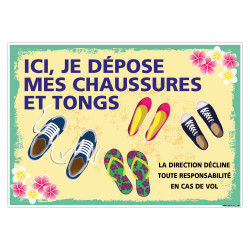 PANNEAU ICI JE DEPOSE MES CHAUSSURES ET TONGS (H0466)
