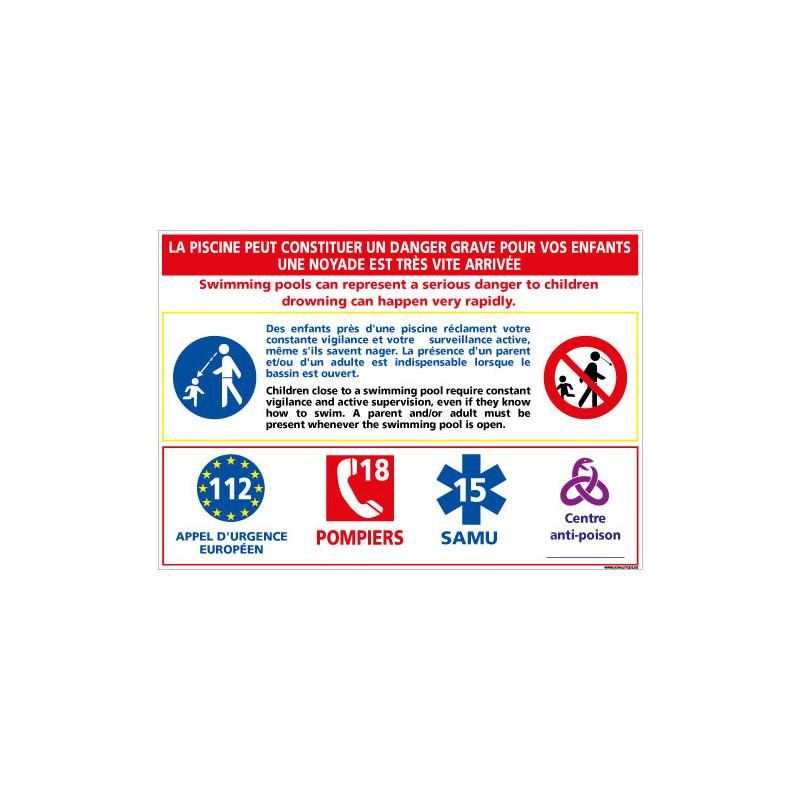 PANNEAU PREVENTION ENFANTS DANS LES PISCINES (D0719)