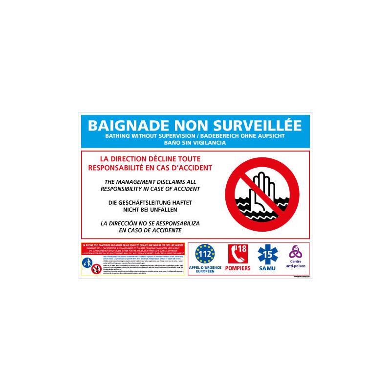 PANNEAU BAIGNADE NON SURVEILLEE (D0720)