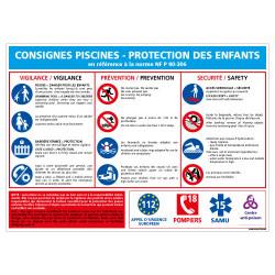 PANNEAU CONSIGNES PISCINES PROTECTION ENFANTS (D0725)