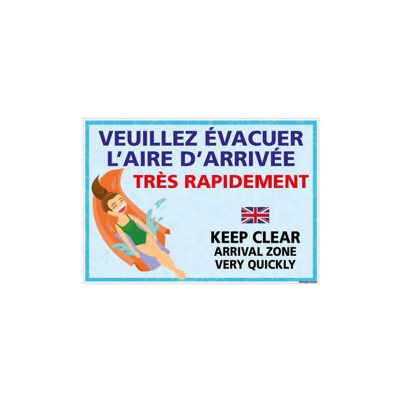 PANNEAU VEUILLEZ EVACUER L'AIRE D'ARRIVEE TRES RAPIDEMENT (H0463)