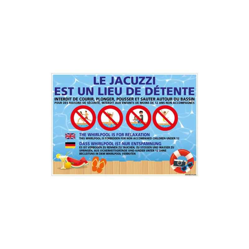 PANNEAU LE JACUZZI EST UN LIEU DE DETENTE (H0464)