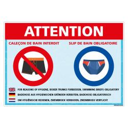 PANNEAU CALECON DE BAIN INTERDIT - OBLIGATION DE PORTER UN SLIP DE BAIN (H0481)