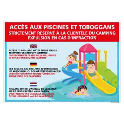 PANNEAU ACCES AUX PISCINES ET TOBOGGANS (H0485)