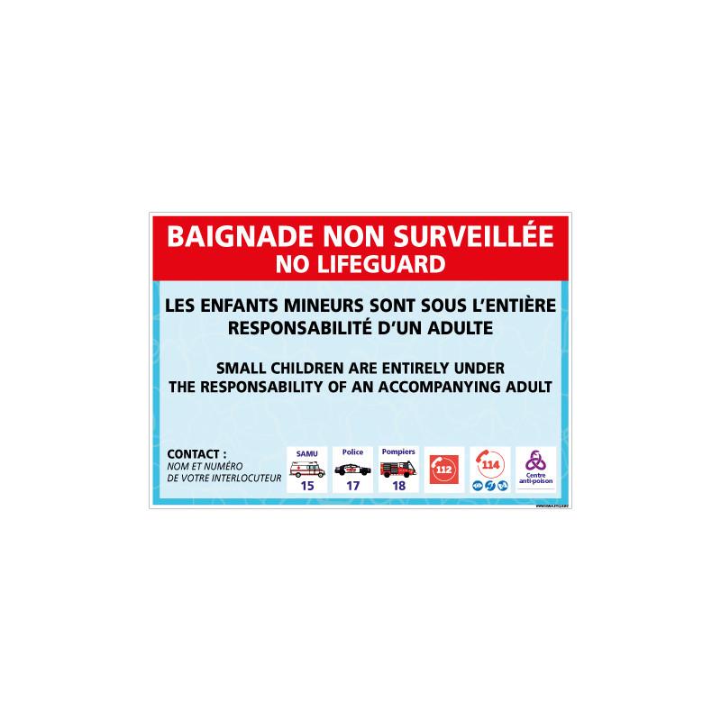 PANNEAU BAIGNADE NON SURVEILLEE PERSONNALISABLE (H0492-PERSO)