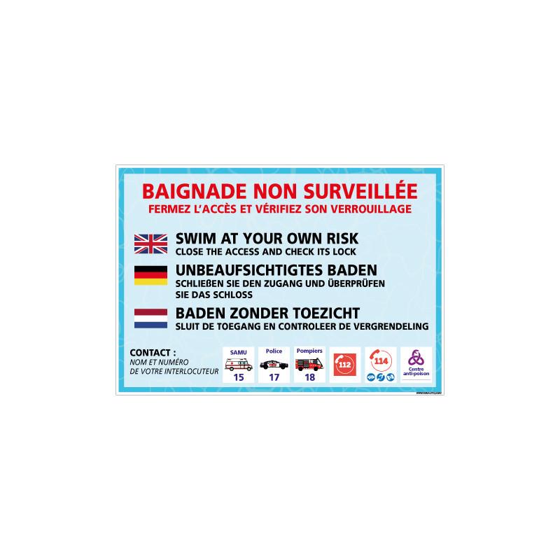 PANNEAU BAIGNADE NON SURVEILLEE DANS PLUSIEURS LANGUES PERSONNALISABLE (H0493-PERSO)