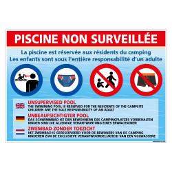 PANNEAU PISCINE NON SURVEILLEE RESERVE AUX RESIDENTS DU CAMPING (H0495)