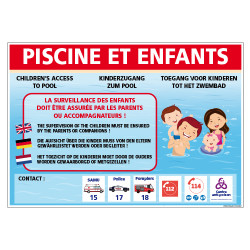 PANNEAU PISCINE ET ENFANTS PERSONNALISABLE (H0498-PERSO)