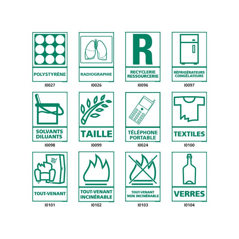 Panneau de Signalisation recyclage (taille, textiles, verresÖ)