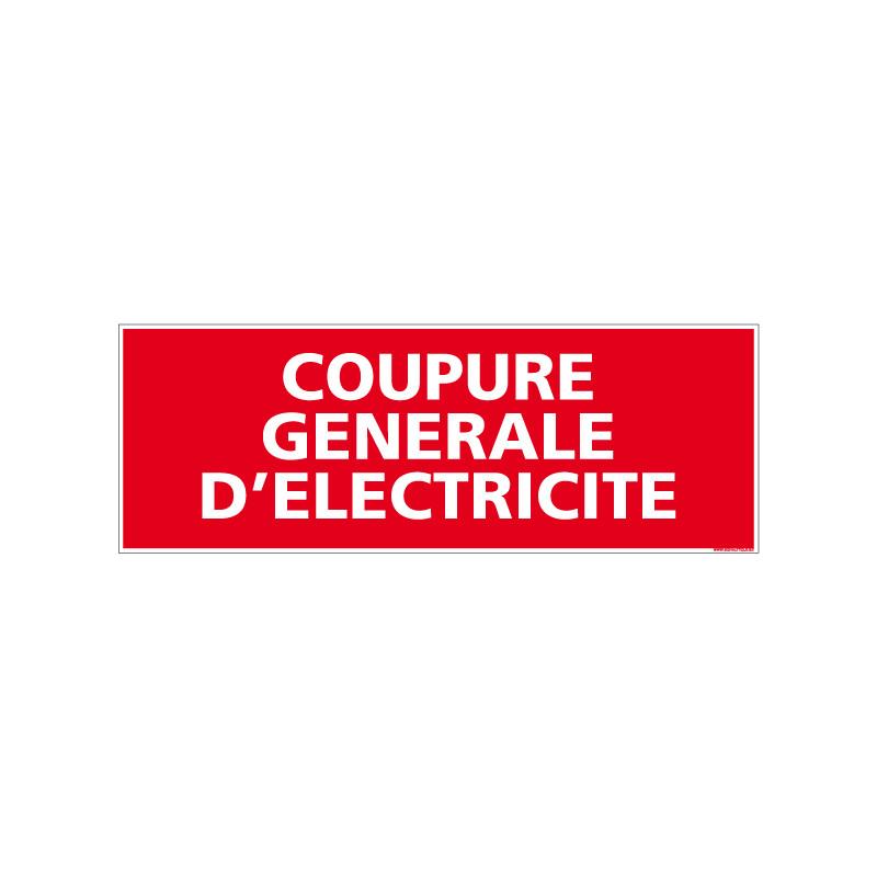 Panneau de signalisation incendie COUPURE GENERALE D'ELECTRICITE (A0073)