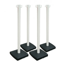 Lot de 4 poteaux en PVC blanc sur socle lester (W0026-X4)