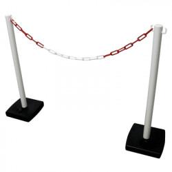 Kit poteau PVC sur socle lester avec 5m de chaîne (W0033)