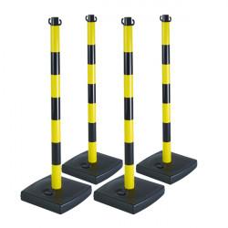 Lot de 4 poteaux en PVC Jaune/ Noir sur socle lester (W0200-X4)