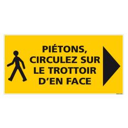 PANNEAU PIETONS CIRCULEZ SUR LE TROTTOIR D'EN FACE - 800x400mm (C1472)
